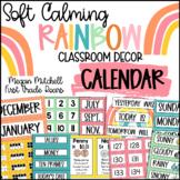 Rainbow Classroom Decor CALENDAR SET Soft Calm and Happy