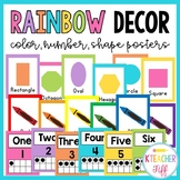 Rainbow Classroom Decor: Color, Number, and Shape Posters
