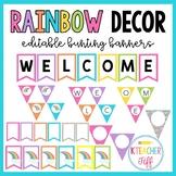 Rainbow Classroom Decor: Editable Bunting Banners