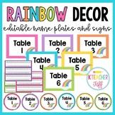 Rainbow Classroom Decor: Editable Name Plates and Signs