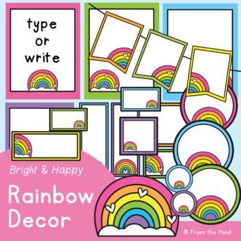 Rainbow Classroom Decor - Editable Printable Templates
