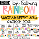 Rainbow Classroom Decor LIBRARY BOOK LABELS Soft Calm and Happy