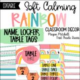 Rainbow Classroom Decor NAME LOCKER TABLE TAGS Soft Calm and Happy