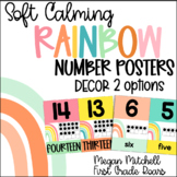 Rainbow Classroom Decor NUMBER POSTERS Soft Calm and Happy