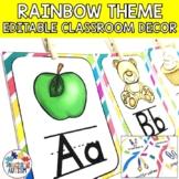 Rainbow Editable Classroom Decor Pack