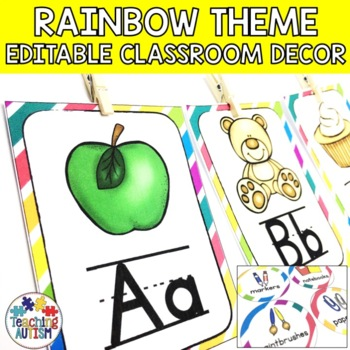 Rainbow Editable Classroom Decor Pack