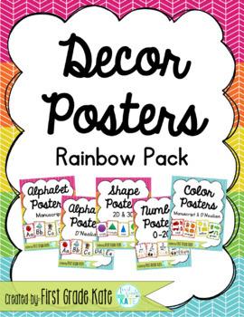 Rainbow Classroom Decor Poster Pack