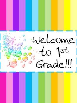 Rainbow Classroom Door Welcome Sign