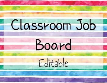 Rainbow Classroom Job Board - EDITABLE!