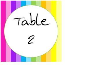 Rainbow Classroom Table Numbers
