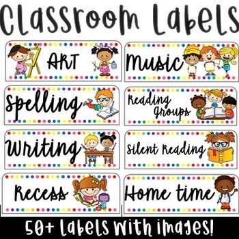 Rainbow Classroom Timetable Labels 50+