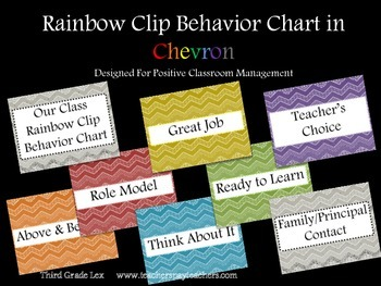 Behavior Chart - Rainbow Chevron Background