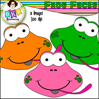 Rainbow Clipart ● Frog Faces ● Graphics ● Products for TpT Sellers