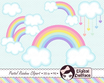 Rainbow Clipart, Pastel Clip Art Set