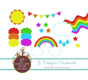 Rainbow Clipart, Rain. Weather, Clouds, Clolorful, Bunting Flags, Stars