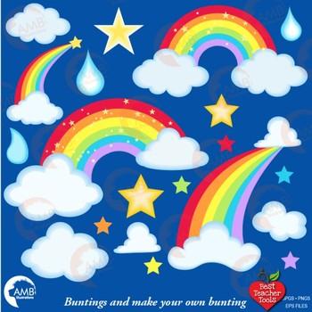 Rainbow Clipart, Rainbows, Stars and Clouds {Best Teacher Tools} AMB-2437