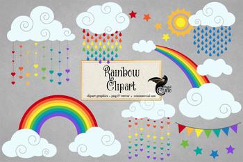 Rainbow Clipart, rainbow sun and clouds, weather clip art
