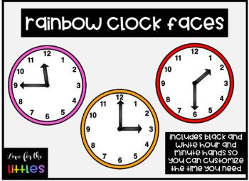 Rainbow Clock Clip Art