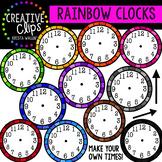 Rainbow Clock Clipart {Creative Clips Clipart}