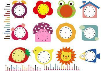 Rainbow Clock Clipart - Make your own clock template -Asunboy Clips