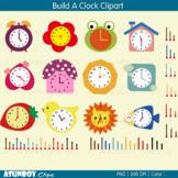 Rainbow Clock Clipart - Make your own clock template -Asun