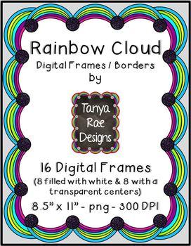 Rainbow Cloud Digital Frames / Borders