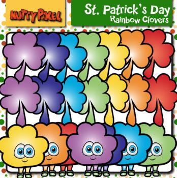Rainbow Clovers -St. Patrick's Day Clipart