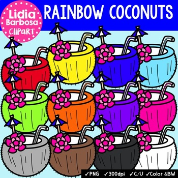 Rainbow Coconuts- Digital Clipart