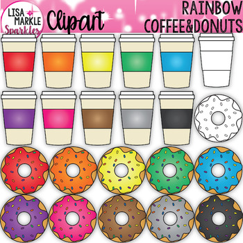 Rainbow Coffee and Doughnuts Clipart