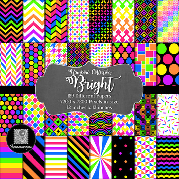 12x12 Digital Paper - Rainbow Collection: Bright (600dpi)