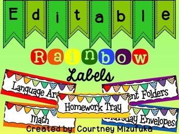 Rainbow Color Scheme Labels-Editable
