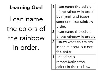 Rainbow/Color Spectrum Learning Goal and Scale