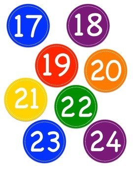 Rainbow Colored Circle Number Labels 1 -30