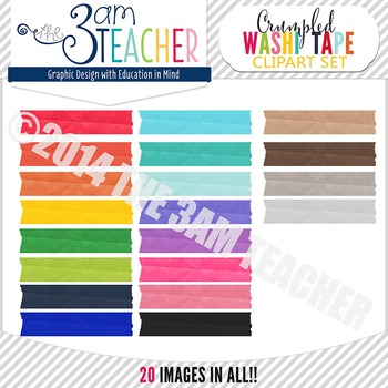Rainbow-Colored Crinkled Washi Tape Graphics