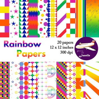 Rainbow Colored Digital Papers for Backgrounds, Scrapbooki