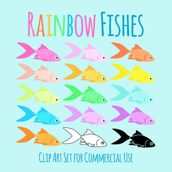 Rainbow Colored Fish Clip Art Set for Commercial Use