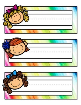 Rainbow Colored Name Tags