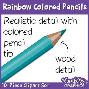 Rainbow Colored Realistic Pencil 10 Piece Clipart Set Confetti Graphics