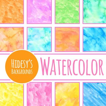 Rainbow Colored Watercolor Washes - Various Colors Digital Paper / Backgrounds