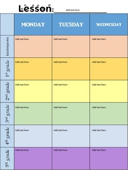 Rainbow Colored weekly planner for specialists