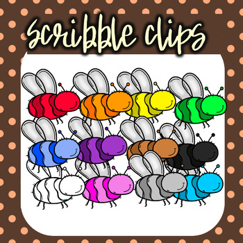 Rainbow ( Colorful) Bees - Scribble Clips