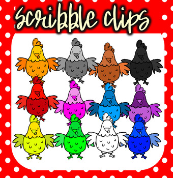 Rainbow ( Colorful) Chickens - Scribble Clips