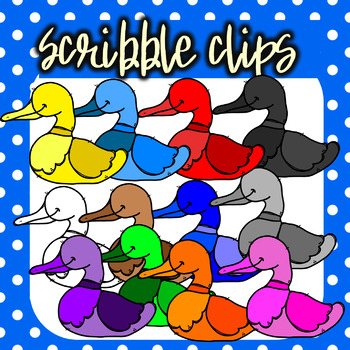 Rainbow ( Colorful) Ducks - Scribble Clips