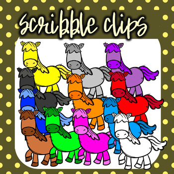 Rainbow ( Colorful) Horses - Scribble Clips