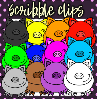 Rainbow ( Colorful) Pigs - Scribble Clips