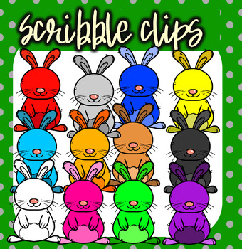 Rainbow ( Colorful) Rabbits - Scribble Clips