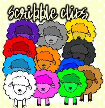 Rainbow ( Colorful) Sheep - Scribble Clips