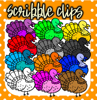 Rainbow ( Colorful) Turkeys - Scribble Clips
