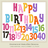 Rainbow Colors 1 Happy Birthday Word Art & Birthday Number Graphics