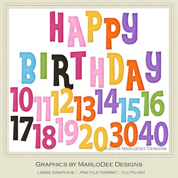 Rainbow Colors 1 Happy Birthday Word Art & Birthday Number Graphics